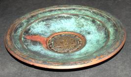 Judaica Israel Vintage Copper Tray Zel Zion Signed 1960's Wall Hang Verdigris  image 2