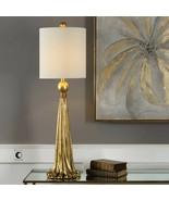 Tassel Table Lamp Gold 37H Tall White Drapery Swag Romantic Elegant - $217.80