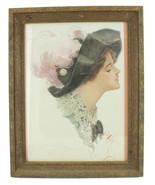 Antique 1911 Victorian Female Portrait Print Harrison Fisher Framed Dodd... - $53.99