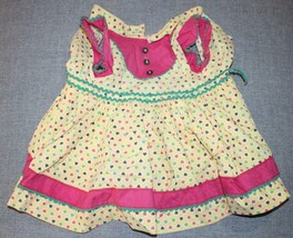 1950s/60s Doll Dress Yellow Pink Green Hearts Pinafore Attached Slip 12-1/2 - $20.57