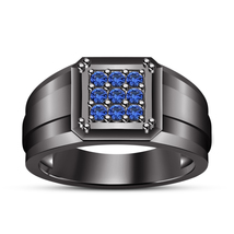 Mens Blue Sapphire Pinky Ring Band 14k Black Gold Over 925 Sterling Solid Silver - £85.90 GBP