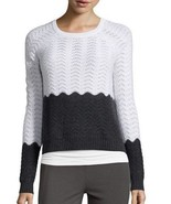 NWT  Hayden-Cashmere Knit-Color-Block-Sweater-Ivory-Charcoal XS $325 - $69.19