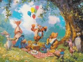 """Counted Cross Stitch winnie the pooh party watercolor - 20.00"""" x 15.00"""" - L1923 - $3.99"""