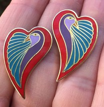 Vintage Laurel Burch Dove Heart Earrings Pierced Post image 1