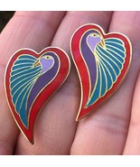 Vintage Laurel Burch Dove Heart Earrings Pierced Post - $19.34