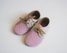 Fox & Molly Baby Leather Oxfords Shoes Pink Polka Dot Laces Blucher 1 2 3 4 - $25.00