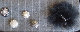 Small Gray Wool Blend Purse with Button, bead and Feather Embellishments image 3