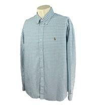 Ralph Lauren Polo Men's Long Sleeve Cotton Blue Green Check Oxford Shirt XL - $19.78