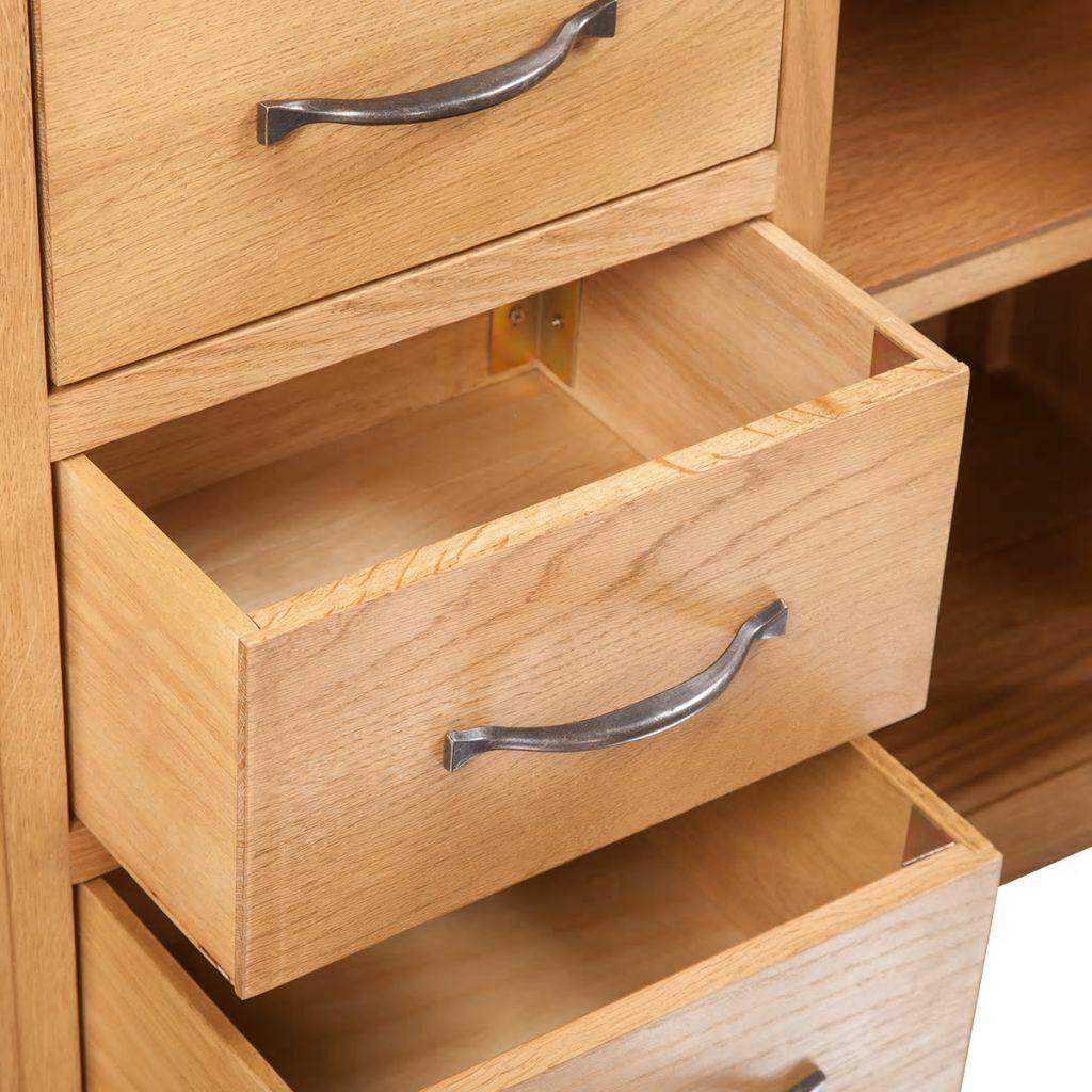 vidaXL Solid Oak Sideboard w/ 3 Drawers 2 Doors Side Storage Cabinet Cupboard image 4