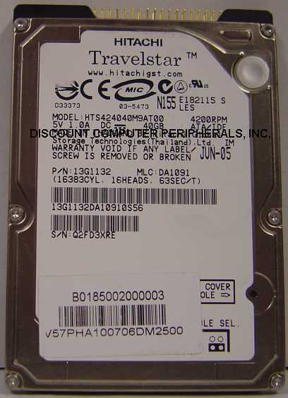 "40GB 2.5"" IDE Drive Hitachi HTS424040M9AT00 Free USA Ship Our Drives Work"