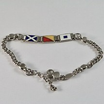 Men's Bracelet in Silver 925 Rhodium with Flags Nautical Enamel 18 CM image 2