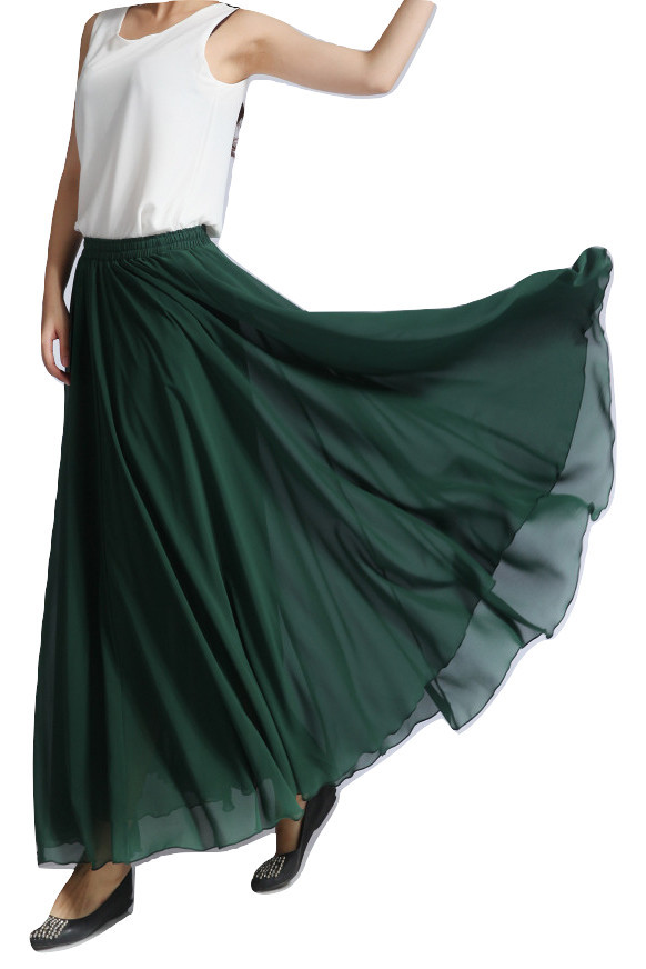Women MAXI Chiffon Skirt DARK GREEN Silky Chiffon Maxi Skirt Beach Wedding Skirt