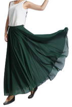 Women MAXI Chiffon Skirt DARK GREEN Silky Chiffon Maxi Skirt Beach Wedding Skirt image 1