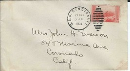 CINCINNATI (CL-6) 27 Oct 1934 Uncacheted Navy Day Locy Type 6epr postmark - $3.47