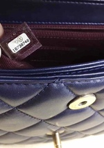 AUTHENTIC CHANEL RARE NAVY BLUE QUILTED LAMBSKIN LARGE PERFECT EDGE BAG GOLD HW  image 7