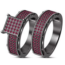 14K Black Gold Over Pink Sapphire Bridal Set Engagement Ring + Wedding B... - $95.99