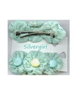 1 Pair Pretty Soft Green Hair Clips - £6.95 GBP