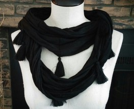 Mudd Womens infinity Scarf Black with Tassels - $10.39