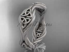 14k white gold matte finish rope celtic wedding band RPCT998G - $595.00