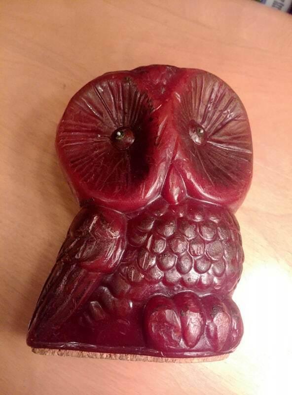 "Vintage 70s Artist Hoot Wise Owl Candle 5 1/2"" Guillermo Sanchez B"