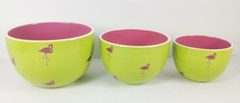 3 Nested Bowls Set Pink Flamingo on Lime Green Mixing Serving Table - $39.59
