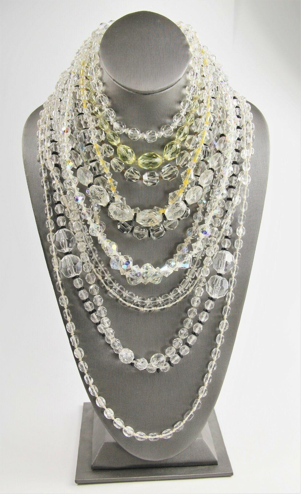 "15"" ESTATE VINTAGE Jewelry AB GLASS CRYSTAL GRADUATED BEAD NECKLACE ADJUSTABLE"