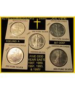 5 B/U .999 Pure SILVER Eagles 1987, 89, 91, 93, & 95 Key, Semi, & Low Mi... - $220.00