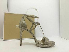 Michael Kors Simone Women's Evening High Heels Sandals Silver Sand Glitter 7 M image 6