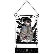 Metal & Glass Winter Holiday Snowman Seasonal Hanging Welcome Sign Decor image 5