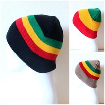 NEW RASTA REGGAE RED YELLOW GREEN STRIPES WINTER KNIT SNOWBOARDING BLACK... - $9.28 CAD