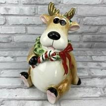 Fitz & Floyd 2004 Reindeer Moose Cookie Jar Canister eBay Exclusive Chri... - $60.51