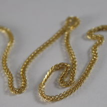 SOLID 18K YELLOW GOLD CHAIN NECKLACE 1.1 MM EAR LINK, 19.69 INCHES MADE IN ITALY image 3