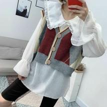 Autumn Wear Geometric Pattern Knitted V Neck Sleeveless Short Sweater Fo... - $36.99