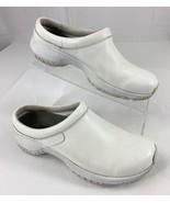 Merrell Encore Pro Grip White Leather Slip On Mules Clogs Shoes Women's ... - $20.75
