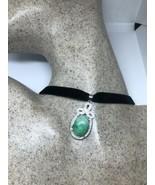 Vintage Green Jade Choker White Sapphire Pendant Necklace - $64.35