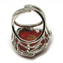 Silver Ring 925, Red Coral Natural Heart, Cabochon, Made in Italy image 6