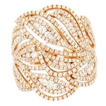 NEW GLK 18K ROSE GOLD 1.75CT DIAMOND LEAF RING SIZE 7 - £2,011.71 GBP