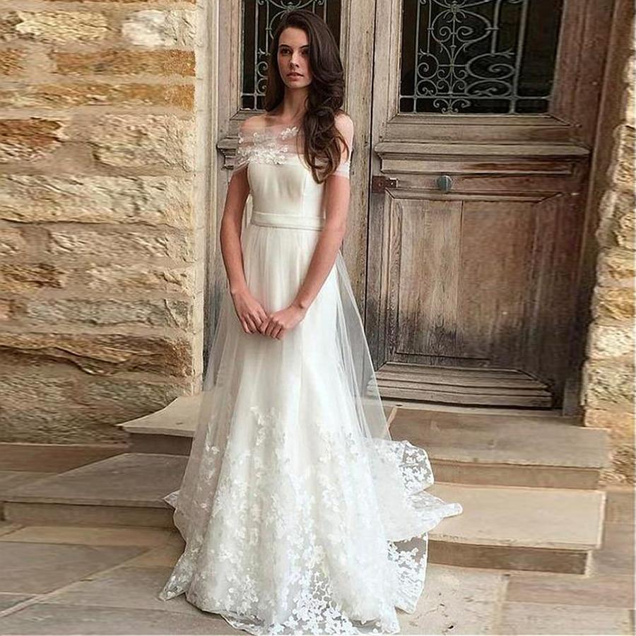 Egant tulle off the shoulder neckline a line wedding dress 3d lace applique elegant bridal dress