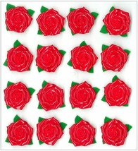 Jolee's Boutique Dimensional Cabochon Red Rose Stickers