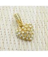 Monet Clear Rhinestone Gold Tone Heart Necklace Pendant Vintage - $13.86