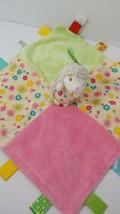 Taggies plush hedgehog on baby security blanket green pink flowers satin back  - $11.57