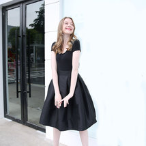 Women BLACK A-Line Ruffle Skirt Lady Taffeta High Waist Midi Pleated Party Skirt image 2