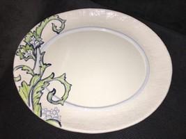 Fitz & Floyd Paloma Blue Green Leaves Textured Rim White Oval Ceramic Pl... - $27.71