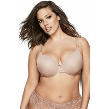 NEW Ashley Graham Women's Cappuccino Striped Lingerie Icon Contour Bra 38DDD