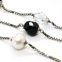 Necklace Silver 925, Pearls, Nugget Black and Transparent, Length 85 CM image 2