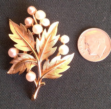Vintage Bold Gold Trifari Leaf and Scattered Pearls Cluster Brooch Pin - $19.99