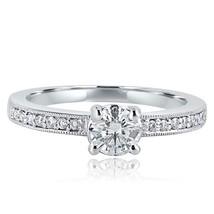 0.68 Carat Round Cut Diamond Solitaire Engagement Ring 18k White Gold - $1,442.09
