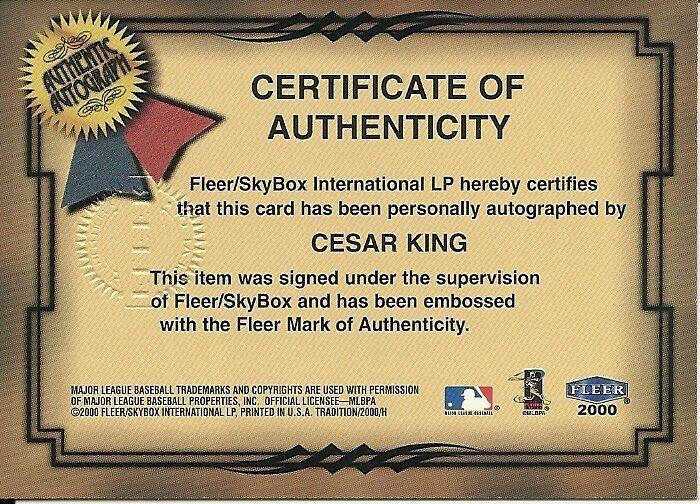 2000 Fleer Tradition Fresh Ink Cesar King Rangers