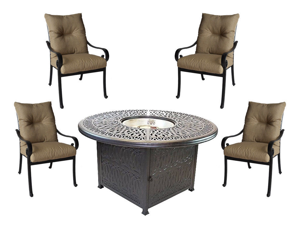 5 piece round fire pit patio set cast aluminum furniture Sunbrella cushions