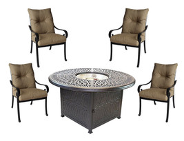 5 piece round fire pit patio set cast aluminum furniture Sunbrella cushions image 1
